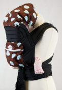 Mei Tai Baby Carrier Sling With Hood And Pocket - Brown With Baby Blue Spots
