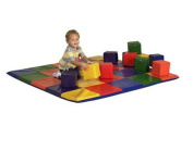 ECR4Kids SoftZone Patchwork Toddler Mat with 12 Soft Blocks
