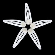 Snap Hair Clips with Pads Craft Bow 40mm Pack of Approx.50pcs White