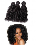 46cm Unprocessed Virgin Mongolian Afro Kinky Curly Human Hair Extensions for Black Women Natural Black 100g/one Bundle