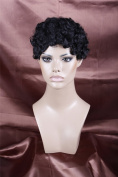 Black Short Curly Wavy Halloween Christmas Party Wig Cosplay Wig