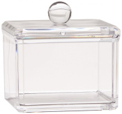 INHDBOX Square Acrylic Cotton Ball Cotton Pad Holder, Single Tier