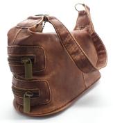 'Carly' Shoulder Bag Zip Top Handbag with small outer zip pockets TAN
