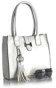 Big Handbag Shop Womens Faux Leather Medium Size Satchel with Make up Pouch Bag