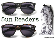 SG103 Sun Readers Wayfarer Style, Brown or Green Camouflage with Pouch +1.5+2.0+2.5 UV400 Protection
