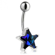 Dark Blue Star Surgical Steel and Sterling Silver Belly Bar Navel 1.6mm 10mm