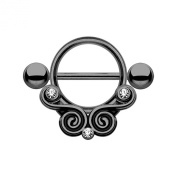 Nipple Piercing Shield Lace Swirls with Clear CZ 316L Surgical Steel - Black Colour - Sold Each