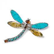 Classic Baltic Yellow Amber, Turquoise and Silver Exotic Dragonfly Brooch