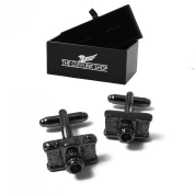 Men's Novelty Design Stainless Steel Camera Photo Cufflinks with Luxury Gift Box