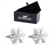 Men's Novelty Design Stainless Steel Silver Christmas Snowflake Cufflinks with Luxury Gift Box