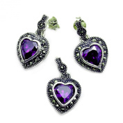 The Silver Plaza 'Queen of Hearts' Sterling Silver Purple CZ, Marcasite Earrings & Pendant Set