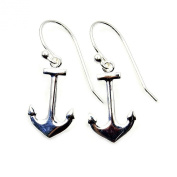 The Silver Plaza Solid Sterling Silver Anchor Dangle Earrings