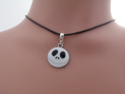 Dunns-jewels Classic 2mm Wide Wax cord Choker With a 30mm Skellington face Charm