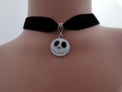 Dunns-jewels Classic 16mm Wide Velvet Choker With a 30mm Skellington face Charms