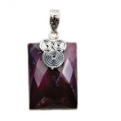 The Silver Plaza 'Red Desert' Sterling Silver Faceted Mookaite Pendant