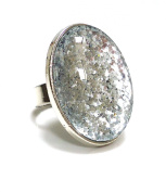 Large Antique Silver Adjustable Ring with Glitter Glass Stone