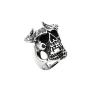 Inox Skull With Horns Stainless Steel Ring