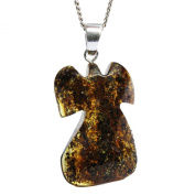Beautiful Baltic Green Amber Pendant 'Angel-Cross' with sterling silver hoop. Comes with lovely gift box.