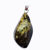 Beautiful Baltic Green Amber Pendant with sterling silver hoop. Comes with lovely gift box.