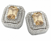 Velini earring, EA6112CH, 925 sterling silver, AAA quality 126 cubic zirconia stones and champagne glass stone