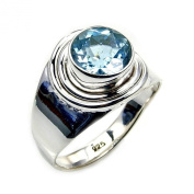 The Silver Plaza Sterling Silver Genuine Blue Topaz Ring