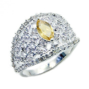 The Silver Plaza Sparkling Sterling Silver Citrine, Cubic Zirconia Ring, Size M