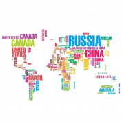 World map wall sticker homeware buy online from fishpond removable alphabets words world map wall art stickers decal decoration gumiabroncs Choice Image