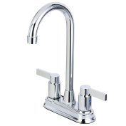 Kingston Brass KB8491NDL 12cm in Spout Reach NuvoFusion Two Handle 10cm Centerset Bar Faucet, Polished Chrome