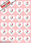 24 X PRE-CUT I LOVE 70's HEARTS EDIBLE RICE / WAFER PAPER CUP CAKE TOPPERS WEDDING BIRTHDAY PARTY DECORATIONS