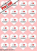 24 X PRE-CUT I LOVE FOOTBALL HEARTS EDIBLE RICE / WAFER PAPER CUP CAKE TOPPERS WEDDING BIRTHDAY PARTY DECORATIONS