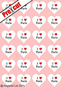 24 X PRE-CUT I LOVE PARIS HEARTS EDIBLE RICE / WAFER PAPER CUP CAKE TOPPERS WEDDING BIRTHDAY PARTY DECORATIONS