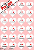 24 X PRE-CUT I LOVE ANIMALS HEARTS EDIBLE RICE / WAFER PAPER CUP CAKE TOPPERS WEDDING BIRTHDAY PARTY DECORATIONS