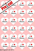 24 X PRE-CUT I LOVE HORSES HEARTS EDIBLE RICE / WAFER PAPER CUP CAKE TOPPERS WEDDING BIRTHDAY PARTY DECORATIONS