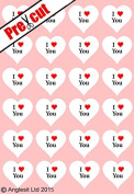 24 X PRE-CUT I LOVE YOU HEARTS EDIBLE RICE / WAFER PAPER CUP CAKE TOPPERS WEDDING BIRTHDAY PARTY DECORATIONS