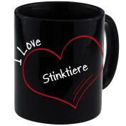 "Mug with ""I Love Stinktiere Modern Black"