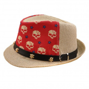 Unisex Kids Fedora Hat Bucket Hat, Lightweight Cap Sunhat Cool Skull Red