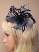 Allsorts® Navy Beaded Feather Beak Clip Fascinator