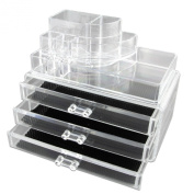 Clear Acrylic Makeup Beauty Cosmetic Jewellery Display Storage Organiser Organiser Box Case top section + 3 big drawers