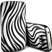 White Zebra PU Leather Zebra Pull Tab Pouch Cover Case for Apple iPhone 4S by Digi Pig