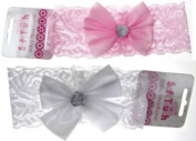 Infants Cute baby girl Headbands Lace White Pink stretch with Satin Bow Soft Touch