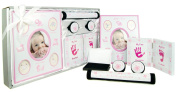 New Baby Girl Gift 5 Piece Keepsake Set First Photo Frame, Curl and Tooth Box, Handprint Footprint Prints Kit Pink White