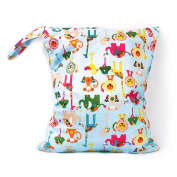 Waterproof Reusable Baby Cloth Nappy Bag Double Zipper Colourful Animal Pattern