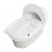 New White Dimple Moses Basket Covers 4 Piece Bedding Set Inc Quilt,Skirt,Hood & Sheet