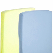 2x Cot Bed 100% Cotton Jersey Fitted Sheet 140 x 70 cm Lemon & Blue