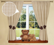 Nursery Curtains For Baby Room with Decorative Bows 160cm x 160cm - cheque BROWN