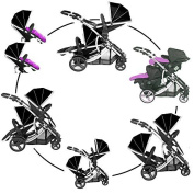 DUELLETTE 21 BS Twin Double Pushchair Tandem Stroller buggy 2 seat units, compatible with Kidz Kargo safety Pod Car seat OR maxi cosi clips or Britax Baby safety Car seat. (sold separately) 2 Free Magenta Pink footmuffs 2 Free rain covers Black Midnigh ..