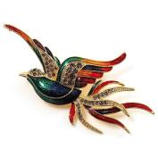 Exotic Multicoloured Flying Fire-Bird Brooch