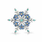 Bling Jewellery Crystal Christmas Flower Snowflake Brooch Pin Rhodium Plated