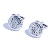 10th Year Wedding Anniversary Gift - Large Chunky Round Pure Tin Cufflinks