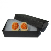 Handmade Fimo Novelty Fun Food - Beans on Toast Mens Cufflinks - Gift Boxed